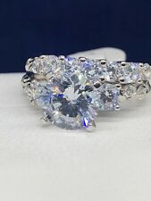 Ring Set Size 8 Sterling Silver Cubic Zirconia Engagement