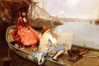 Wonderful Oil painting portraits young painter with his wife on boat on lake