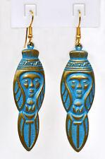 8 cm lange Ohrringe Patina Look Indianer Maya Inka Azteken Türkis Blau Bronze %