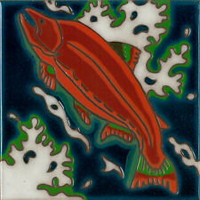 Salmon Fish Ceramic Tile Hand Painted Wall Decor,Hot Plate, kitchen Installation