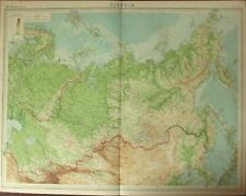 1922 LARGE ANTIQUE MAP ~ SIBERIA ~ MANCHURIA KAMCHATKA