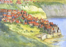 Robin Hoods Bay,  Hand Signed, Titled and Mounted Print with COA