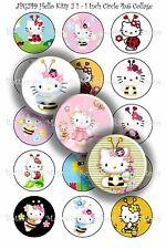 Pre-Cut Bottle Cap Images Cartoon Cat Collage Sheet JPG249 - 1 Inch Circles