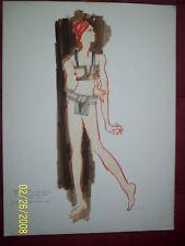 luis vargas original drawing fashion nude dancer rachel mix media rare old sign