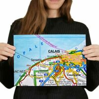 A4  - Calais City France French Travel Map Poster 29.7X21cm280gsm #44504