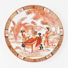 Teller - feines China Geschirr aus Tee Service - Porzellan - rot weiß - bemalt