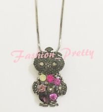 PRETTY CRYSTAL OPAL, AMETHYST AND PINK TOPAZ PRINCESS OWL NECKLACE, 18 INCHES