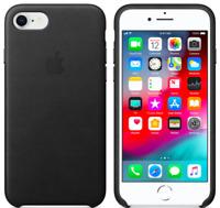 Apple iPhone 8 / 7 / SE2020 Echt Original Leder Hülle Leather Case Schwarz Black