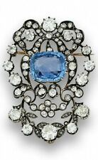 Vintage Style Blue Cushion Filigree Handmade CZ Brooch Pin 925 Sterling Silver