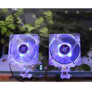 Adjustable Aquarium Cooling Fan Fish Tank Silent Cold Wind Chiller Blue Light YR