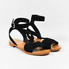 Prada Black Suede Open Toe Ankle Strap Sandals SZ 35