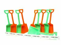 12 (6 each) Orange & Lime Toy Plastic Sand Beach Shovels Mfg USA Lead Free