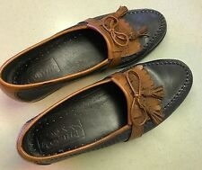 MEN'S  Size 8 1/2  LEATHER LOAFERS  Shoes  Black/Brown   Excellent
