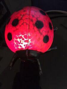 Red glass and metal ladybug night/decor lamp. GUC ADORABLE