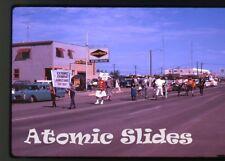 1963 Kodachrome photo slide Parade Saskatchewan Canada 8 car Good Year tire shop