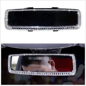 Rhinestone Car Interior Rearview Mirror Crystal Bling Women Auto Accessories