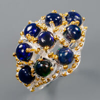 Black Opal Ring Silver 925 Sterling Beauty Rainbow5x5mm Size 7.5 /R141117