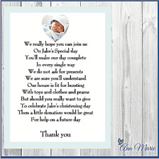 10 X PERSONALISED PHOTO CHRISTENING BAPTISM GIFT  MONEY REQUEST POEM