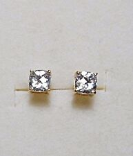 925 St silver studs gold/plt'd, made with Swarovski crystals, cushion-cut