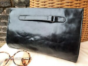 Vtg Original 1930s Art Deco Black Leather Ladies Clutch Wrist Hand Bag. Superb.