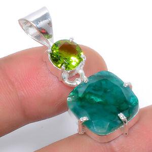 "Emerald  & Peridot Gemstone 925 Sterling Silver Jewelry Pendant 1.40"" VIP-215"