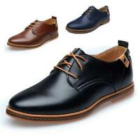 Mens Business Dress Leather Shoes Flat European Casual Oxfords Lace Up Plus Size