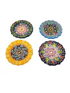 "Turkish Multicolor Hand Painted Ceramic Plate 5"" 4 Piece Set, Home Decor"