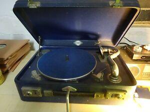 Weltklang Koffergrammophon mit 24 Schellackplatten (Amiga, Eterna, Electrola)