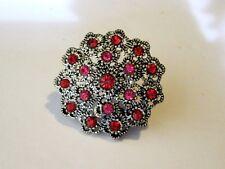 Large Flower Ring Pierced Silver Metal Red Pink Rhinestones Adjustable Band 7&up