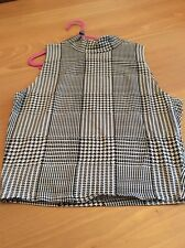 girls clothes 12-13 years Black White Checked Sleeveless Stretch Cotton Mix Top