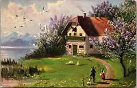 1908 - FARM HOUSE - LAKE Art Vintage postcard - Trees - Flowers Riverside Posted