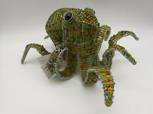 Beadworx Octopus Green Artisan Handcrafted Sculpture Wired Beadwork Ocean Decor