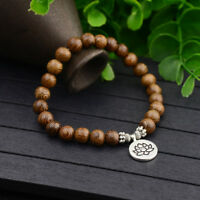 Women Men Natural Wooden Stone OM Lotus Buddha Yoga Bracelets Chakra Mala Beads