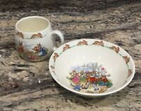 ROYAL DOULTON BUNNYKINS CUP N BOWL GARDENING N ICE CREAM COLORFUL UNUSED COND