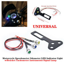 Universal Motorcycle Speedometer Odometer Gauge LED Indicator Light with Bracket