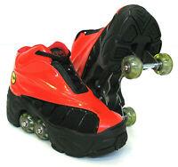 Quad KICK ROLLER Skates retractable WALKnROLL in/outdoor ORIGINAL BN RED/BLACK