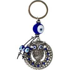 Owl and Blue Evil Eye Ward Key Ring!