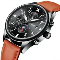 Luxury Automatic Mechanical Multi-function Men Watch Leather Band Auto Date Week