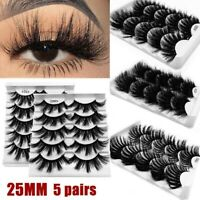 5 Pairs 25mm 3D Mink Hair Eyelashes Fluffy Natural Long Full Wispy Lashes US Hot