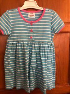 Hanna Andersson Girls Blue Pink Striped Short Sleeve Dress SZ 100 4 Barely Worn