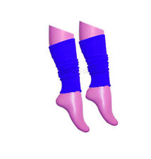 Girls Teen 80's Dance Plain Ribbed Leg Warmers Women Legwarmer Fancy Dress Tutu Royal Blue