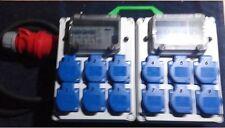 Stromverteiler,Adapter Eingang CEE 32A, 12xSchuko mit 9xB16A mit Fi-Schalter