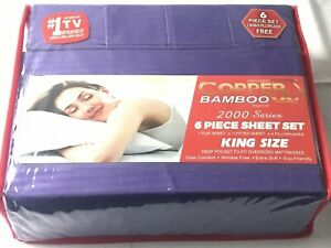 Infused Copper X Bamboo 2000 Series 6pc King Size Series Sheet Set Purple