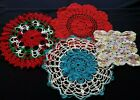 Lot+of+4+Vintage+Hand+Crocheted+Colorful+Doilies