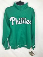 Stitches Philadelphia Phillies MLB Baseball Jacket Mens Sz L Green St Patrick's