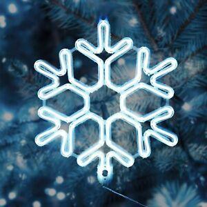 Neon LED Schneeflocke Beleuchtung Weihnachten Fenster Drinnen Draußen Leuchte