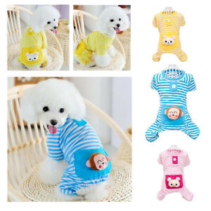 Cute Cartoon Dog Stripes Pajamas Coat Cat Puppy Clothes Apparel Clothing Comfy