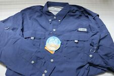 Men' Columbia PFG vented Hiking Fishing L/S Button Front Shirt Size Large L blue