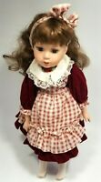 "Porcelain Doll The Sisters Collection Plaid 16"" Natalia Near Mint with Stand"