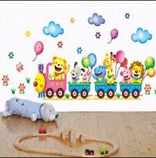 Fun Animals on a train wall decal sticker boy girl baby nursery